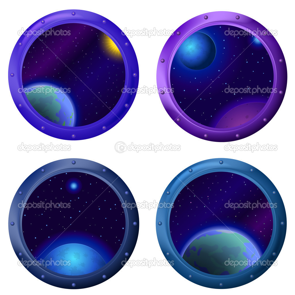 Space fantastic background, round spaceship window porthole with stars and planets, set  Stock Photo #11387385