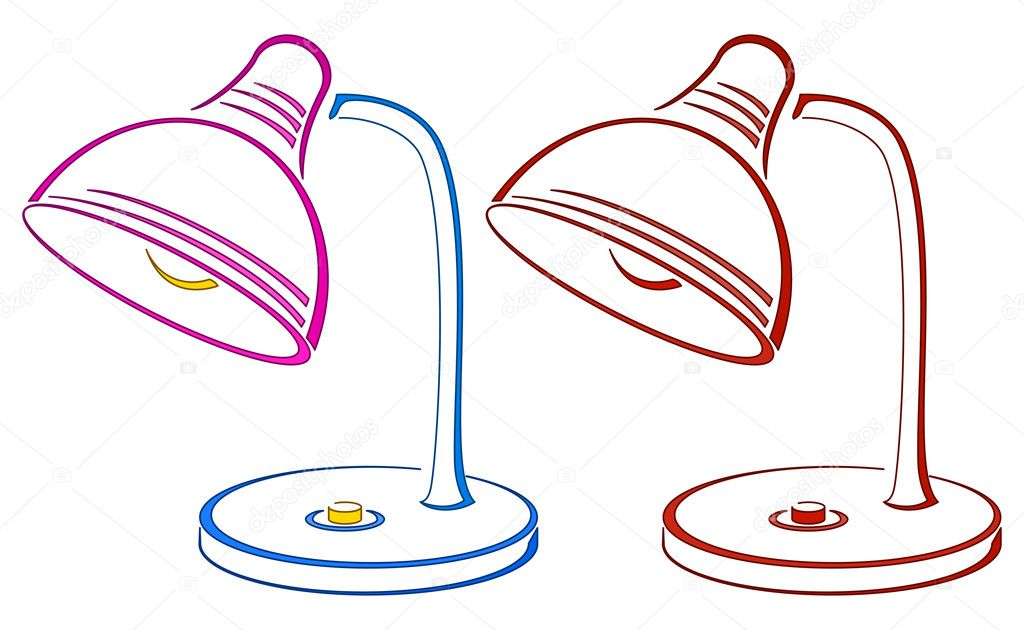 Table retro electric lamp, pictogram, colour and monochrome — Stock Photo #11531902