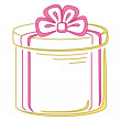 Gift box round, pictogram — Stock Photo