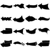 Arrows, big set, silhouette — Stock Vector