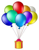 Balloons with a gift box — Stock Photo