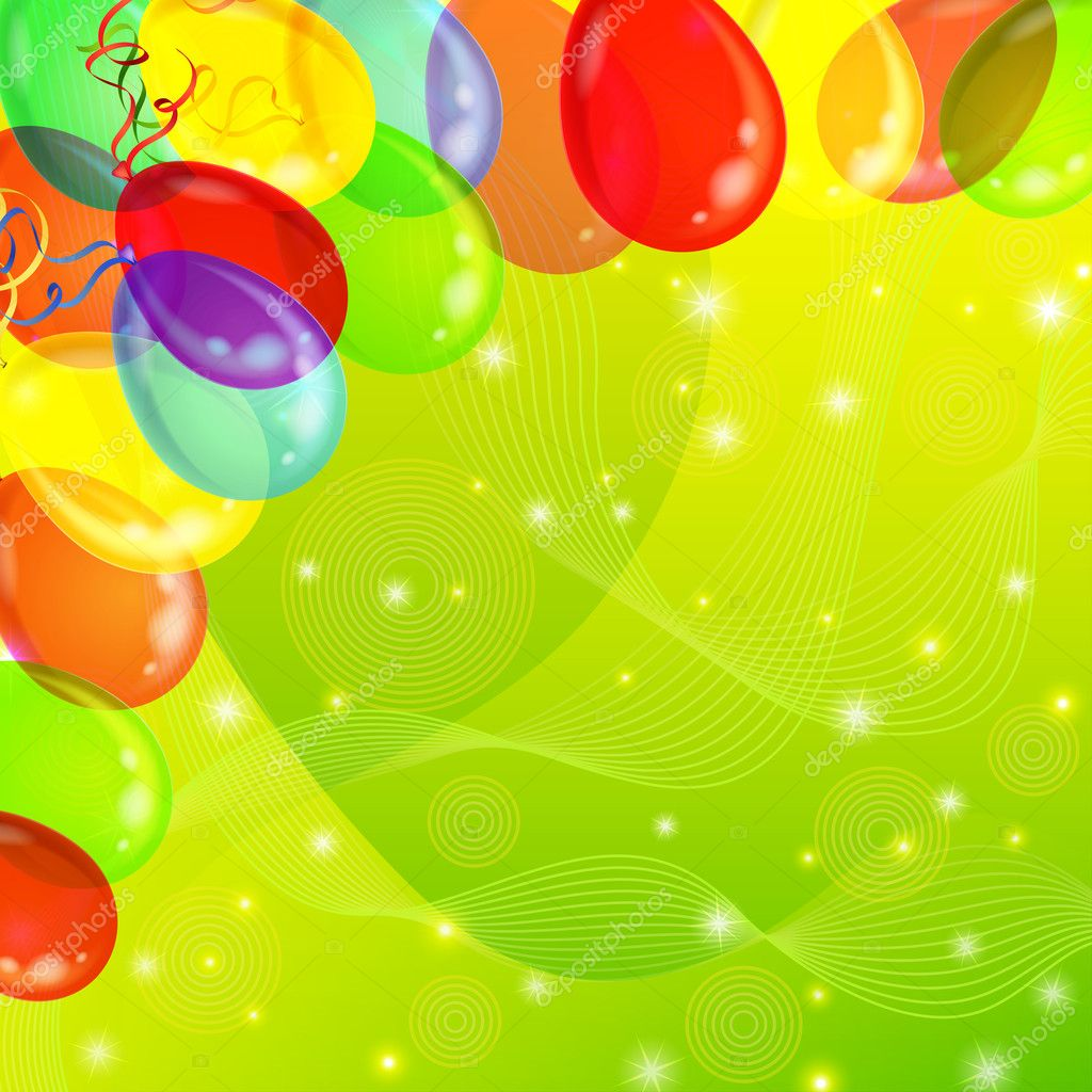 Holiday background with various color balloons, sparks and serpentine on green. Vector eps10, contains transparencies  Stock Vector #11843141