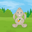 Rabbit girl with carrot in summer forest — Stock Photo #11935391
