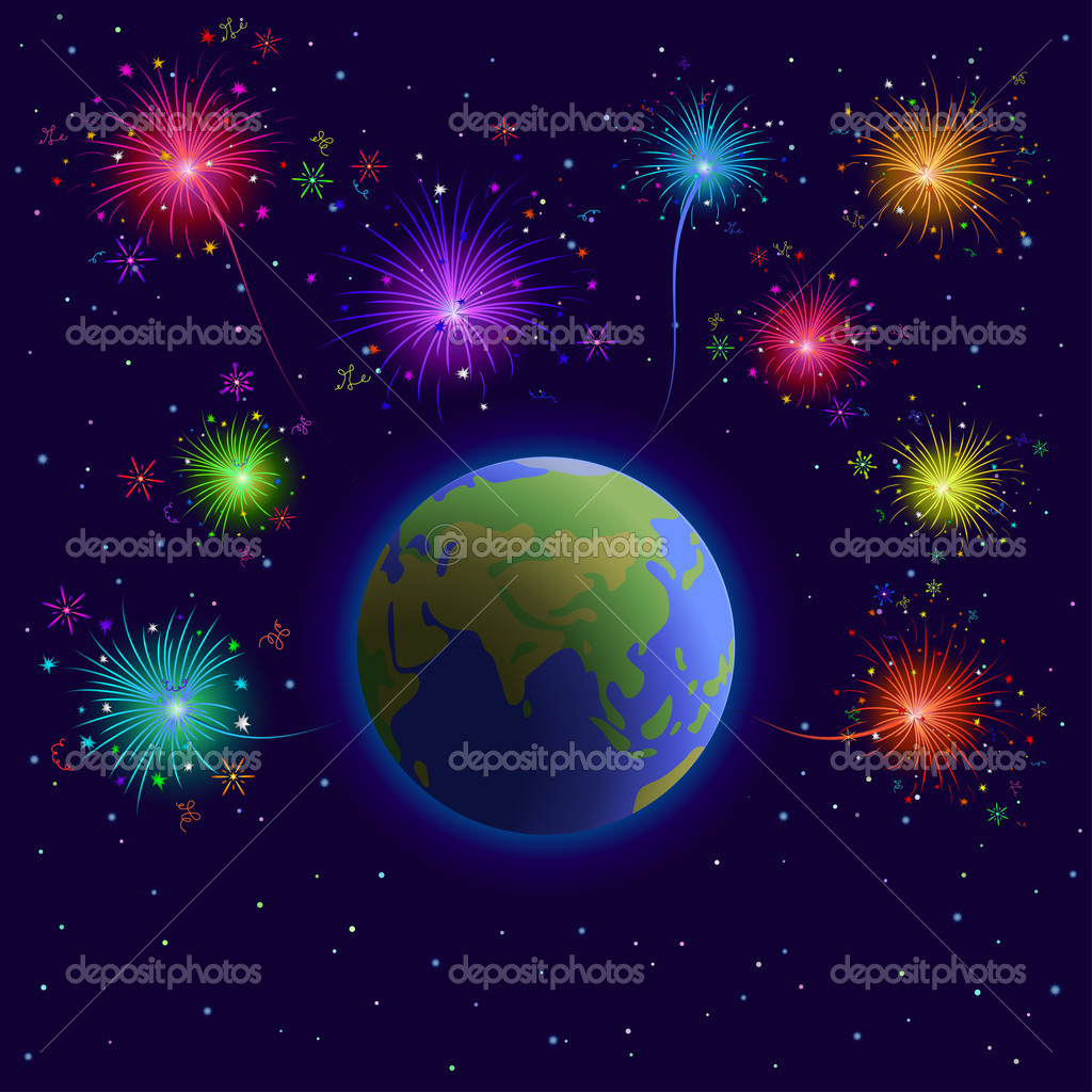 Space, planets mother Earth, holiday firework and stars  Stock Photo #11985421