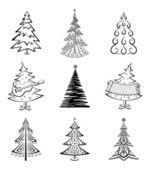 Christmas trees, set — Stock Vector