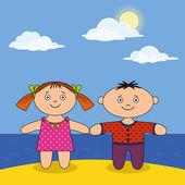 Children on beach — Cтоковый вектор