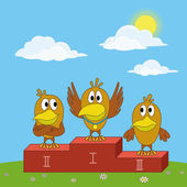 Birds sportsmans on pedestal — Vector de stock