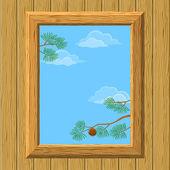 Holz Fenster mit Pinien-Zweigen — Stockfoto