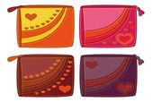 Set monederos con corazones de san valentín — Foto de Stock