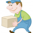 Porter carries a box - Stock Photo