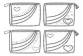 Set purses with valentine hearts, outline — Stock Photo