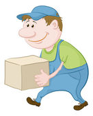 Porter carries a box — Stock Photo