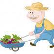 Stock Photo: Men driven truck with vegetables