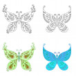 Stock Photo: Set abstract butterflies
