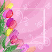 Background, flowers tulips and frame — Stock Vector