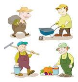Cartoon: gardeners work — Stock Vector