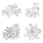 Cultivated flowers, outline, set — Stock Photo