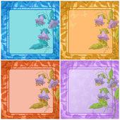 花、 叶帧和蝴蝶 — 图库矢量图片