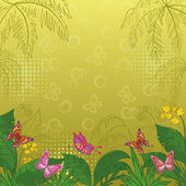 Background with butterflies and flowers — Stock Photo