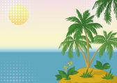 Isola con palme e sole — Foto Stock