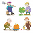 Cartoon: gardeners work — Stock Photo