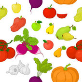Vegetables and fruits, seamless background — Stock Vector