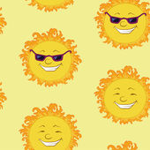 Seamless background, smiling cartoon sun — Stok Vektör