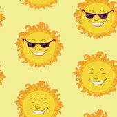 Sömlös bakgrund, leende tecknade solen — Stockvektor