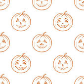 Pumpkins Jack O Lantern, seamless background — Stok Vektör