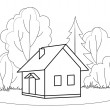 House and trees, contours — Stock Photo