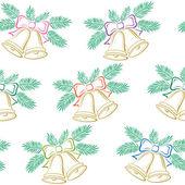 Plano de fundo sem emenda, sinos de natal, pictograma — Vetorial Stock