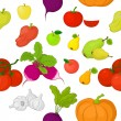 Vegetables and fruits, seamless background — Stock Photo