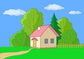 木材的边缘上的小房子 — 图库照片