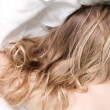 Slipping little blond girl — Stock Photo