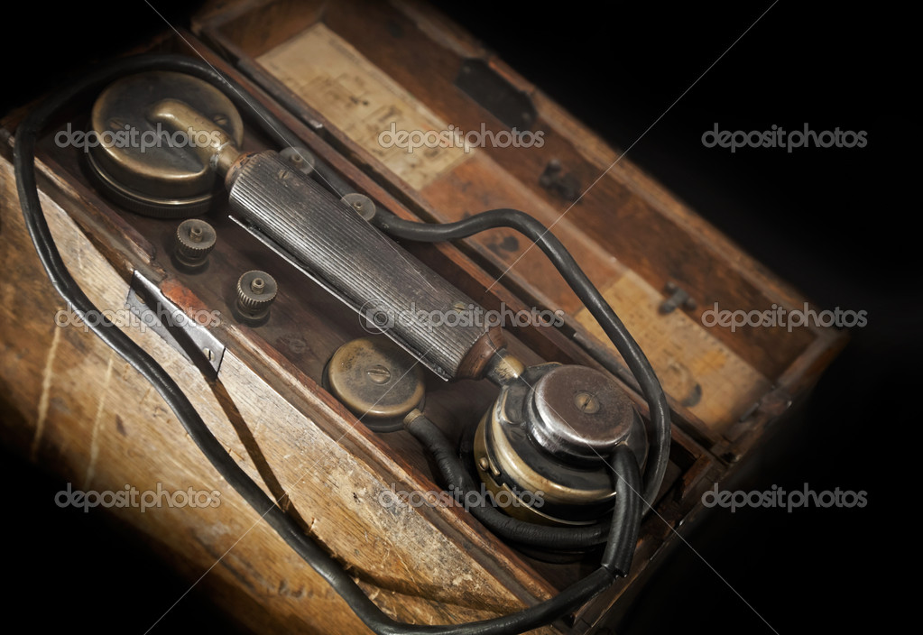 Vintage weathered military telephone from WWII period — Stock Photo #11150793