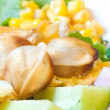 Omelet with vegetables and roasted pelmeni — Stock Photo
