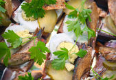 Tasty sandwiches with sprats. — Stock Photo