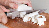 Salted white pork fat slicing — Stock Photo