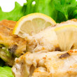 Stock Photo: Fried haddock fish, closeup photo
