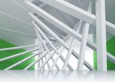 3d abstrakt arkitekturen bakgrund. rum interiör med lutande kolumner och glödande slut — Stockfoto
