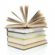 Stack of books on a white background close-up — Stock Photo #10884649