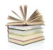 Stack of books on a white background close-up — Stok fotoğraf