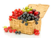 Berries in a wicker basket on a white background — Stock Photo