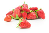Strawberries on white background close-up — Stok fotoğraf