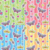 Princess patterns set — Stock Vector