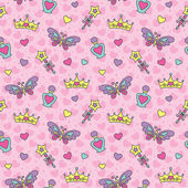Princess seamless pattern — Cтоковый вектор