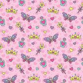 プリンセスのシームレスなパターン — ストックベクタ