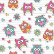 Pattern with cartoon owls — Vektorgrafik