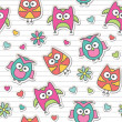 Pattern with cartoon owls — Imagen vectorial