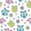 Stock Vector: Pattern with cartoon owls